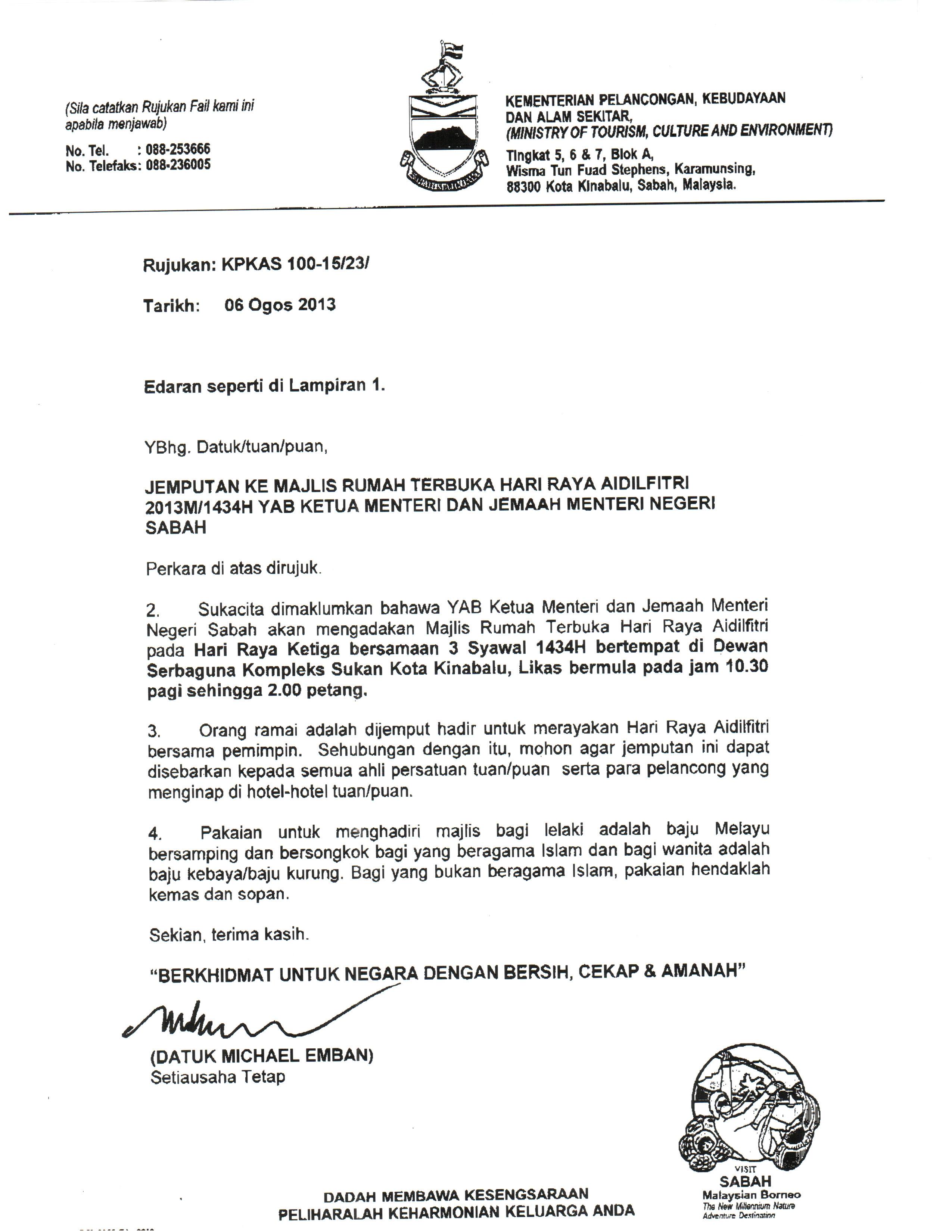 Contoh Surat Rasmi Kepada Menteri Pendidikan Hallowef